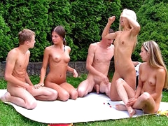 Four hawt X-rated girls having groupsex with yoke lucky fellow