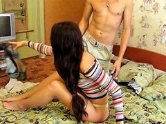 Adorable fetching girl receives ass fucked by two sex-mad guys