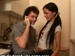 Marvelous brunette teen virgin sucking and getting gaped